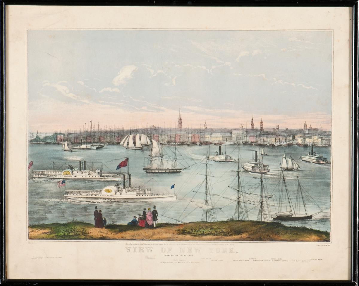 Vy över New York stad och hamn år 1849, sedd från Brooklynsidan. Fartyg på Hudsonfloden.
