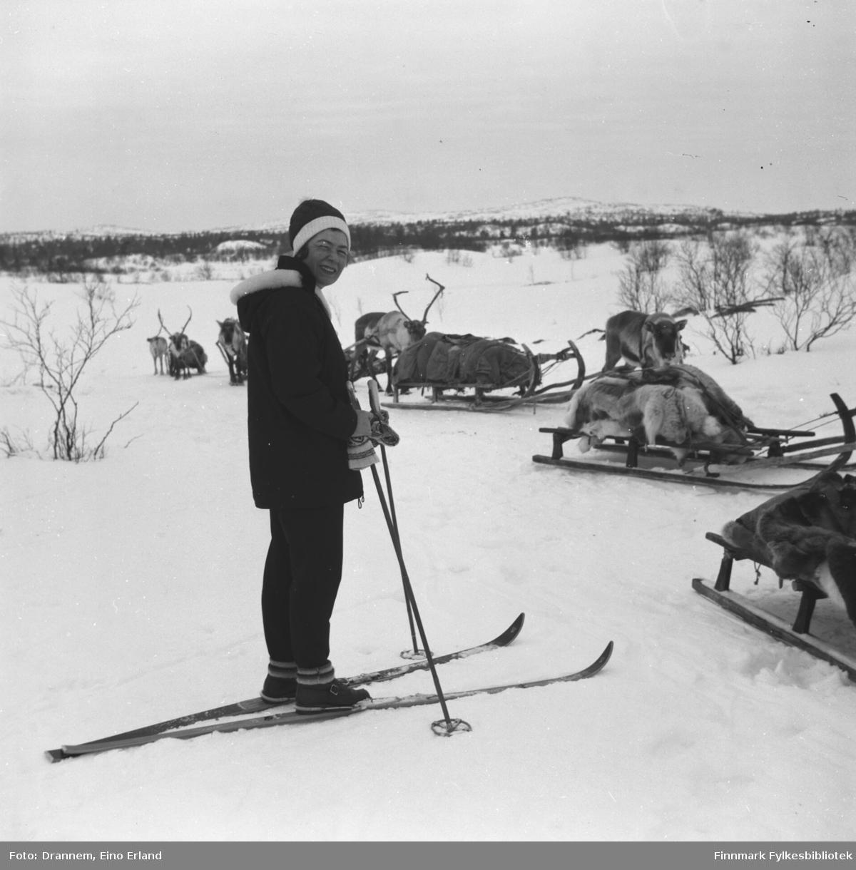 Jenny Drannem på skitur med flere kjørerein i terrenget foran seg.