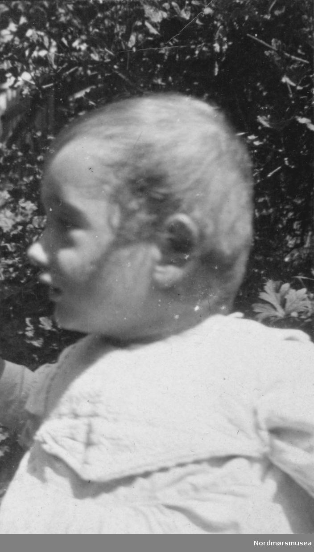 Portrett av et lite barn. Bildet er trolig tatt omkring 1918 til 1919. Bildet ble gitt til Nordmøre museum av Nelly Rødsand 5. september 1983. Fotoalbumet består av bilder med reg. nr. KMb-1983-024.0049 til KMb-1983-024.0223. Flere bilder fra andre album er å finne på samlingsnummer KMb-1983-024. Fra Nordmøre museums fotosamlinger. /Reg:EFR2013/