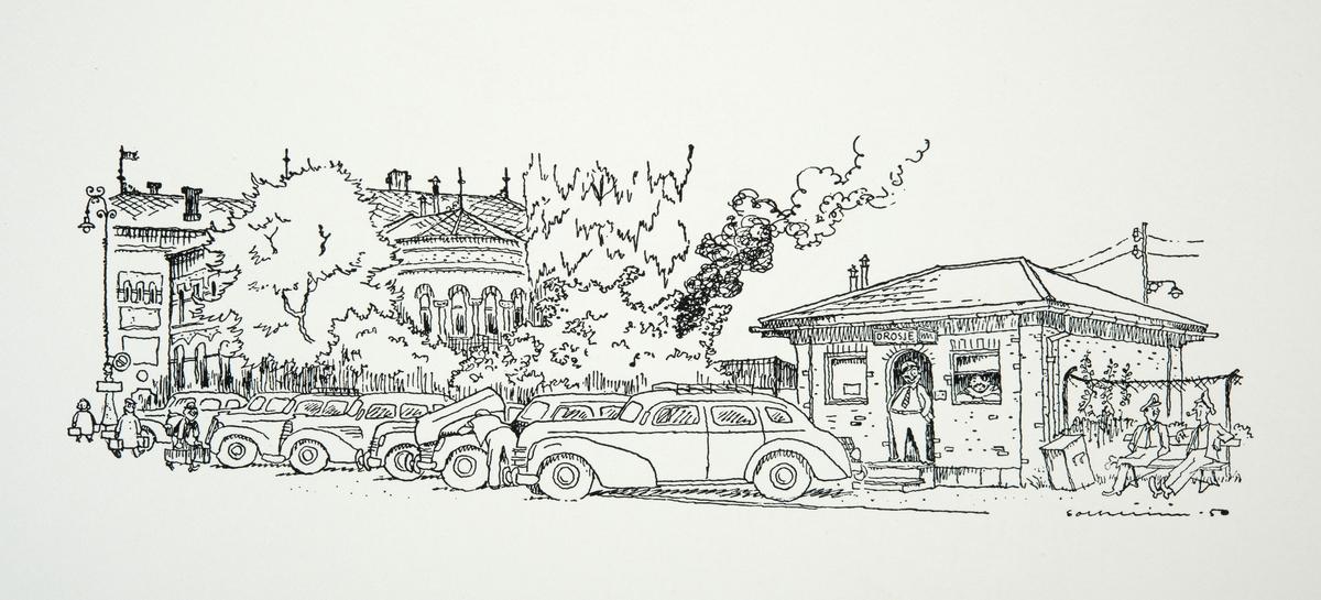 """Tegninger og ilustrasjoner laget av Per Solheim. Hentet fra heftet """"Tegninger fra Hamar"""" utgitt i 1950. Drosjebua ved Jernbaneplassen."""
