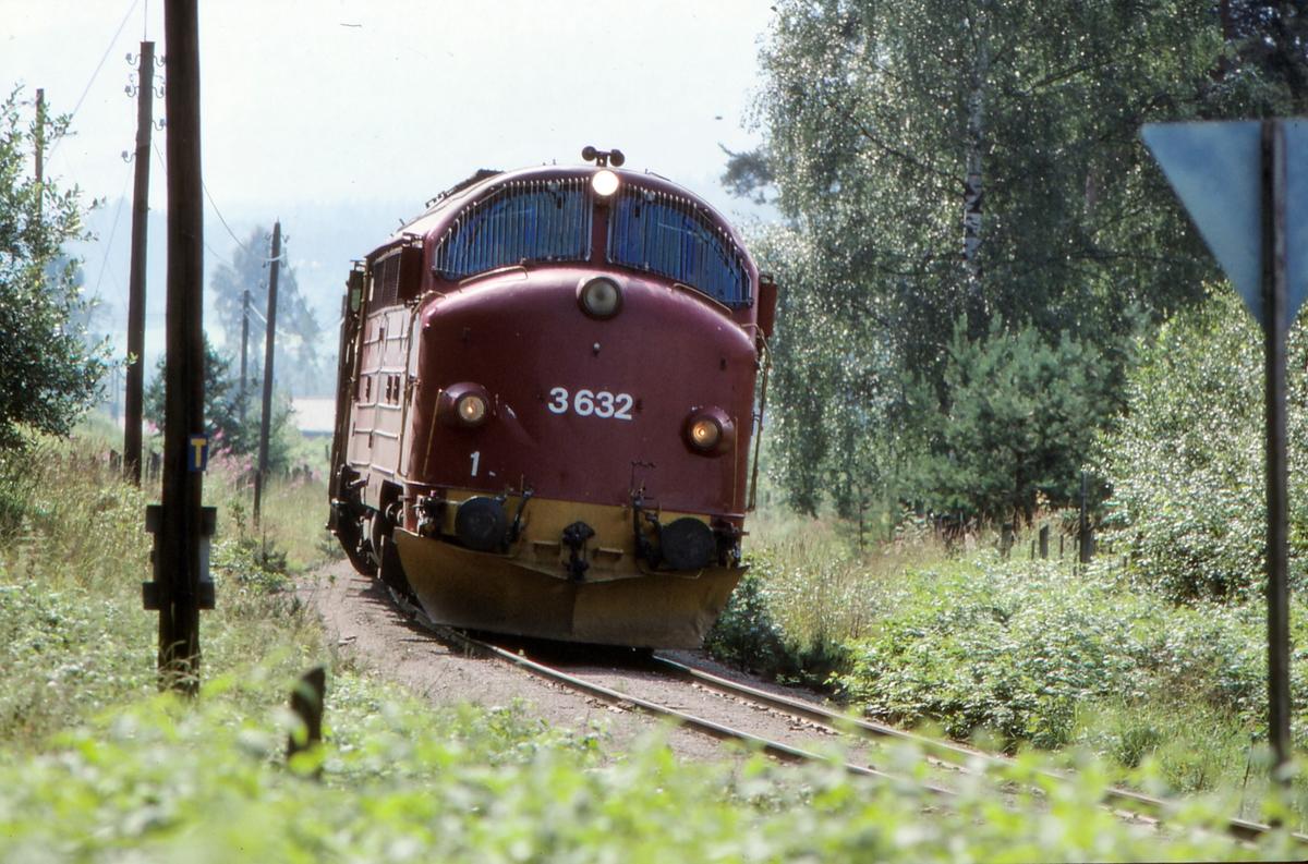 NSB persontog 281 Oslo S - Fagernes i nærheten av Dokka, trukket av dieselelektrisk lokomotiv Di 3 632.