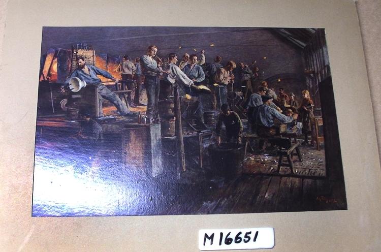 """Offset (färg-).  T.v. en plattform med ugnarna där anfångare och olika glasblåsare står. Nedanför denna t. h. på tavlan sitter  mästarna vid sina bänkar. Flicka med långt, rött hår står i en solstrimma och väntar på det färdiga glaset. Bakpå passepartouten står text: """" Fra den gamle hytten i Hövik Glasverk 1892(4) """"."""