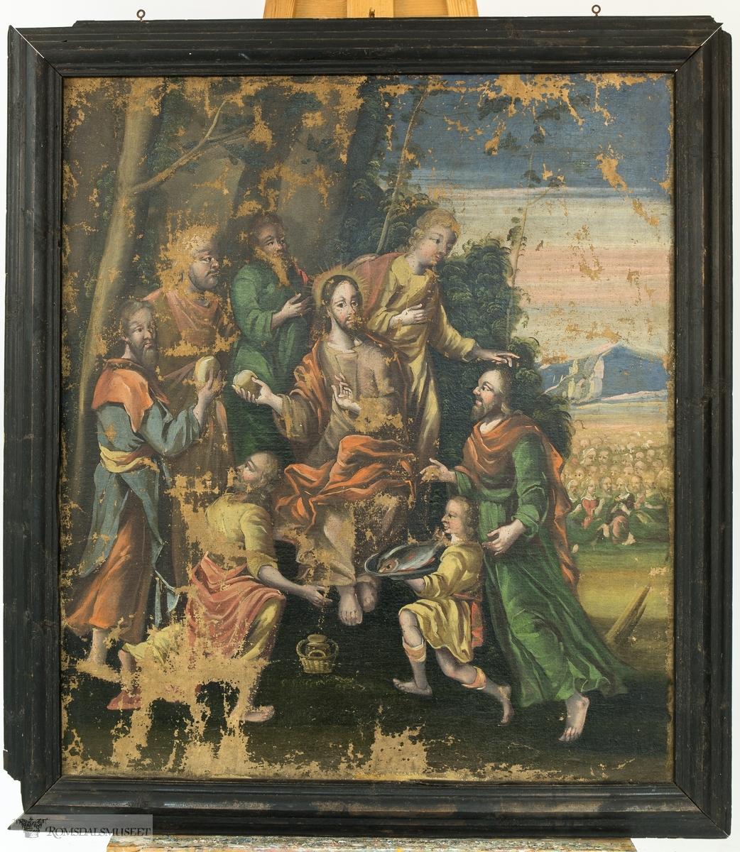 """Bibelsk motiv: """"Bespisningsunderet"""", der Jesus i følge bibelen gjorde fem brød og to fisker til mat for fem tusen."""