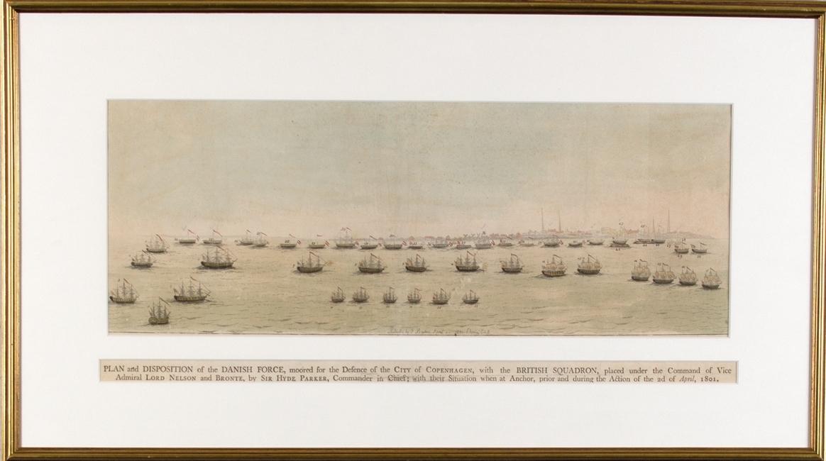 Den danske flåten har ankret opp for å beskytte København 2.4.1801, den britiske flåten under ledelse av viseadmiral Lord Nelson, Bronte og Sir Hyde Parker, har ankret opp og venter på å angripe.