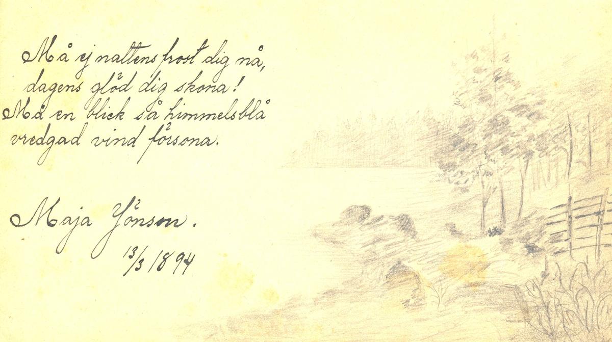 Illustrerad dikt ur Lilli Sahlbergs minnesalbum.