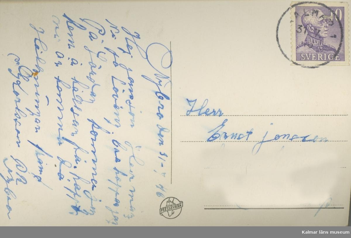 Baksidan till ett vykort, skickat till Madesjö.
