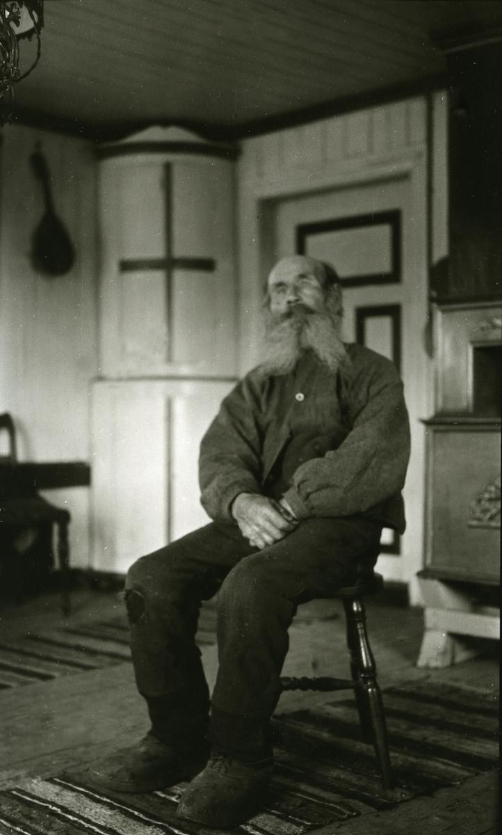 Gammel mann m/langt skjegg sittende inne. Per Povelsen Hemstad (15/9 1833 - 12/1 1929)