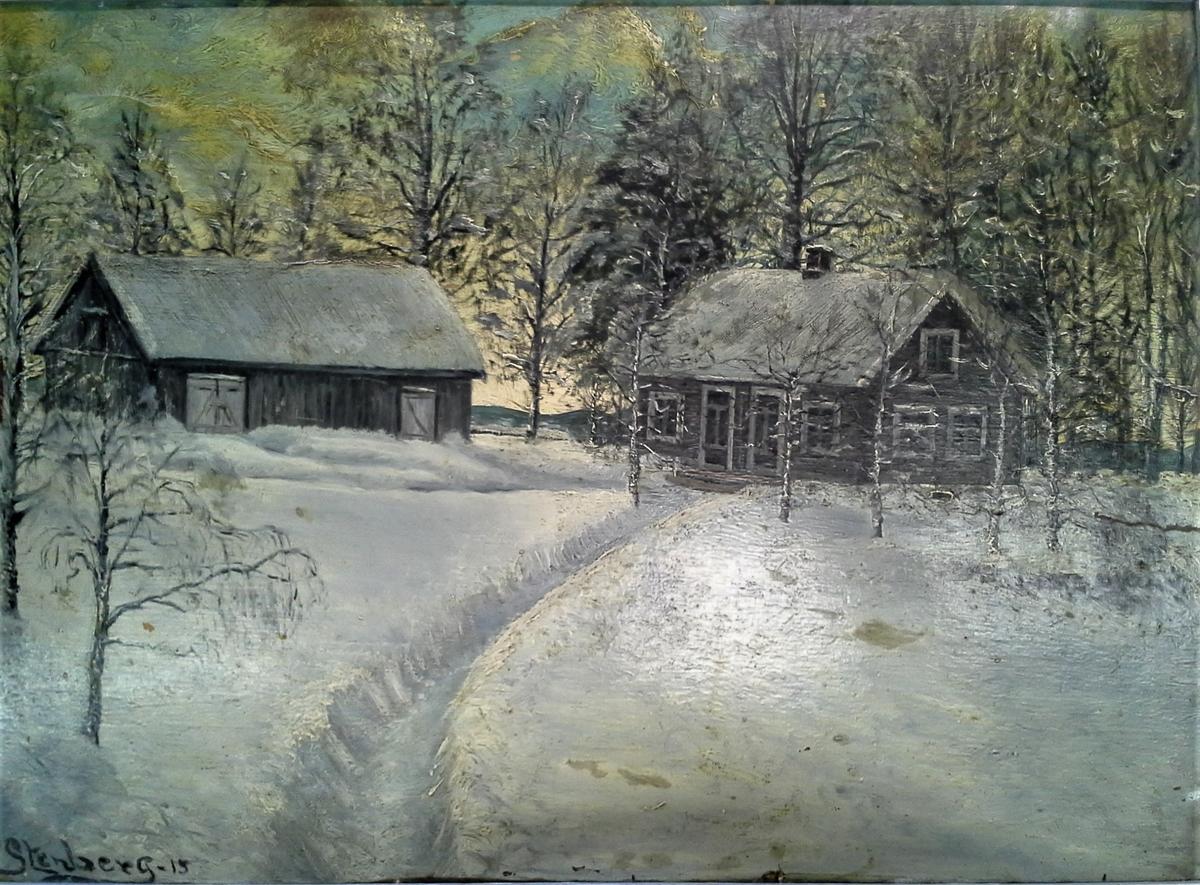 Vinter i Bjerkelund [Landskapsmaleri]