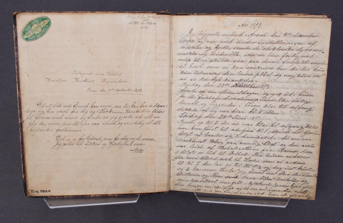 Dagbok skrevet av Anton Amundsen som var 1. maskinist ombord på polarskuten FRAM mellom 1893 -1894.