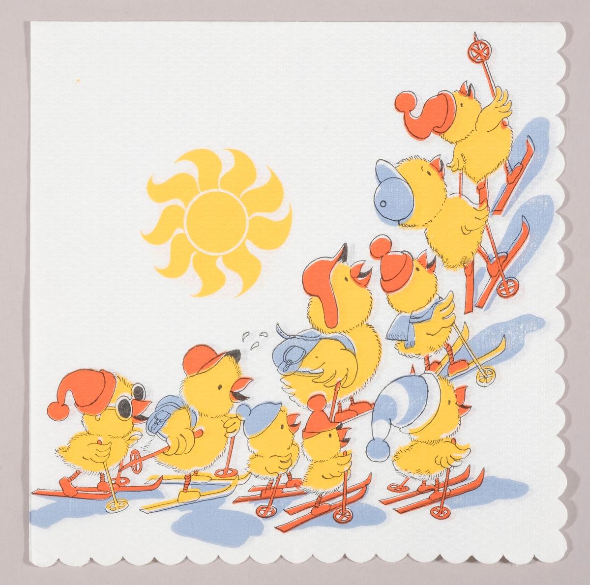 Mange kyllinger på ski med luer, solbrille og ryggsekk. Strålende sol og blå skygger under kyllingene.