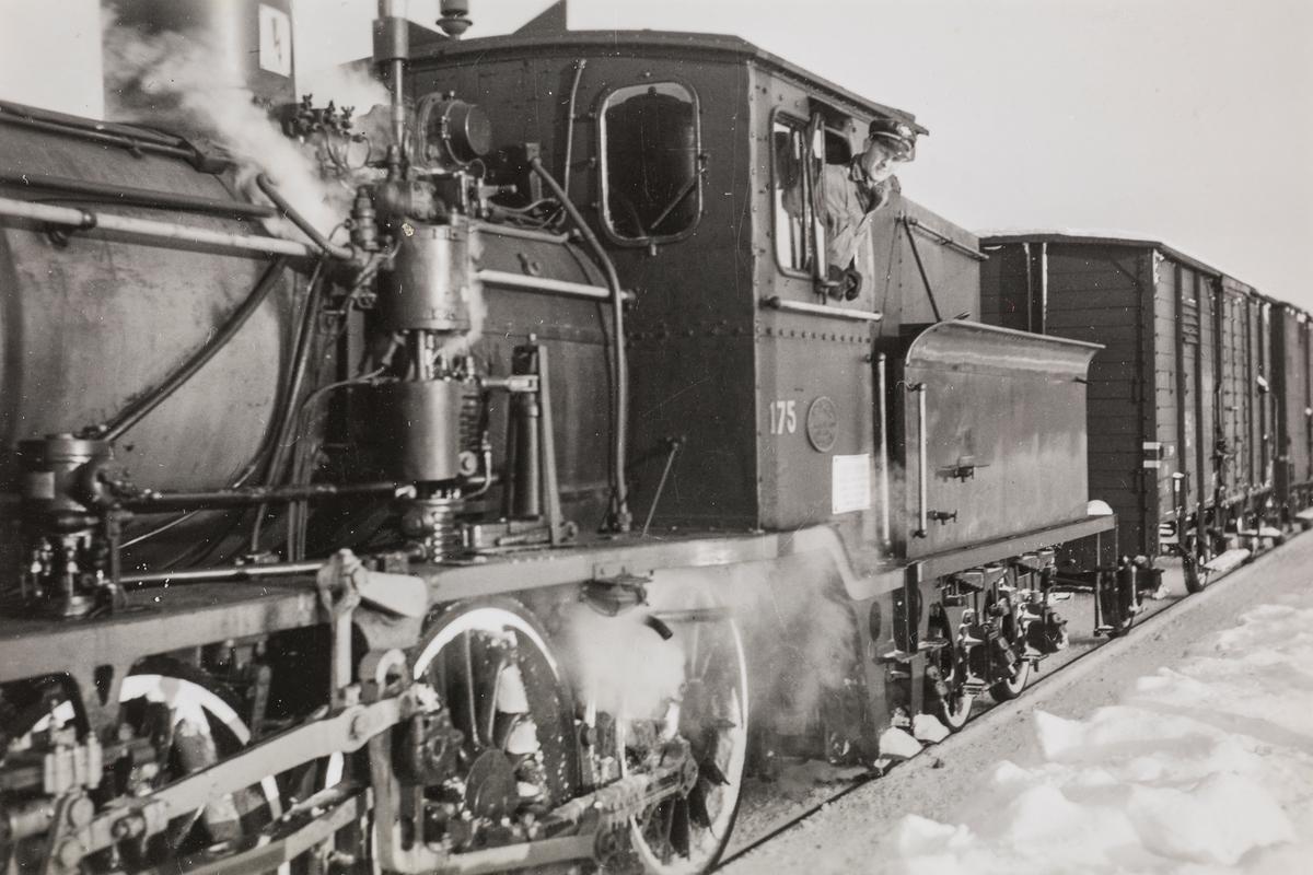 Lokomotivfyrbøter Alf Kolbjørn Jensenpå damplokomotiv type 21a nr. 175, i godstog mellom Grong og Namsos.