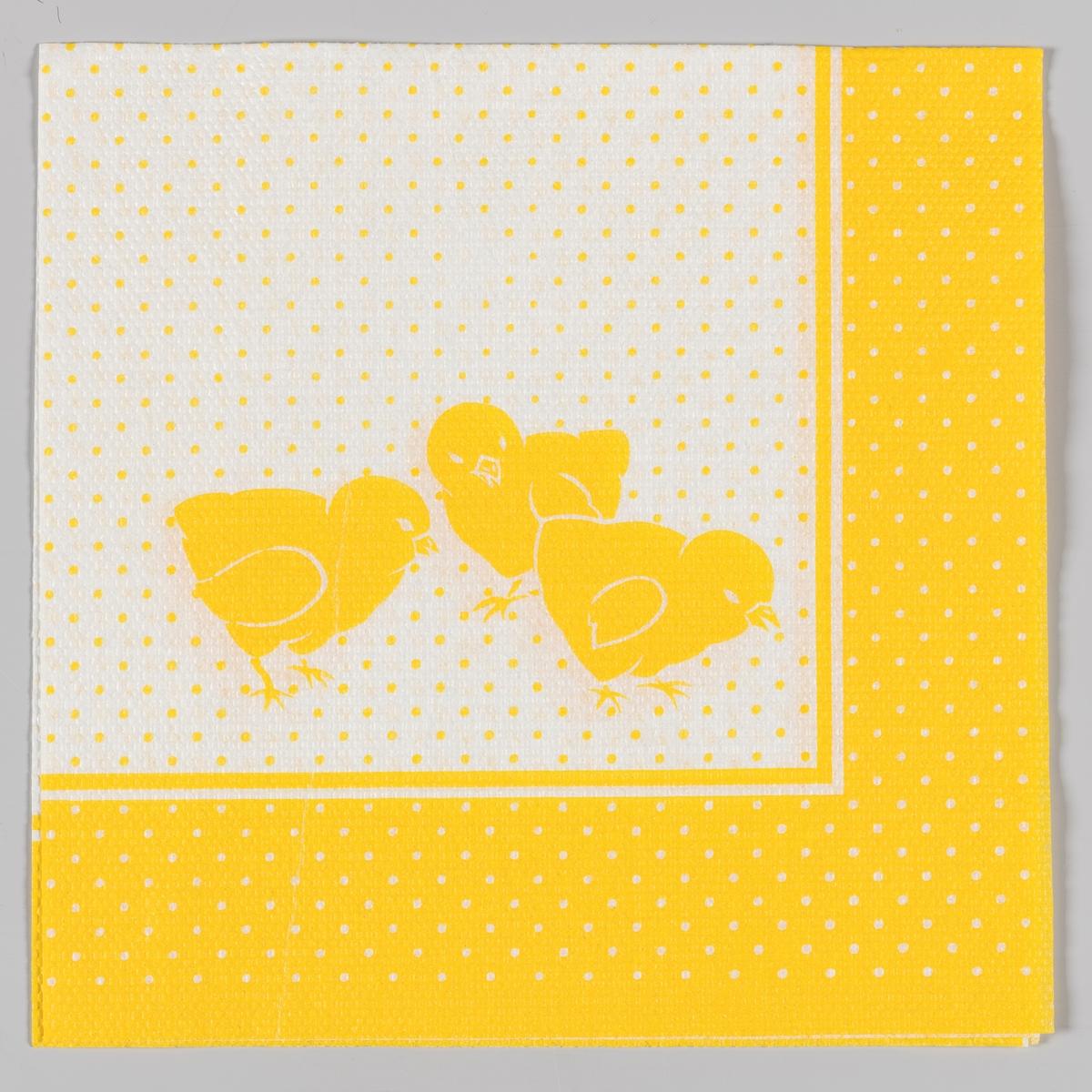 Tre kyllinger på en hvit bakgrunn med gule prikker. Gul kantstripe med hvite prikker.