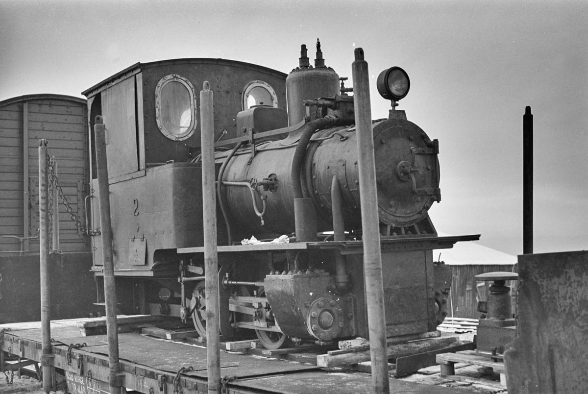 Damplokomotiv nr. 2 fra Bjørkaasen gruber i Ballangen under transport til ny eier Olaf Wiegels.