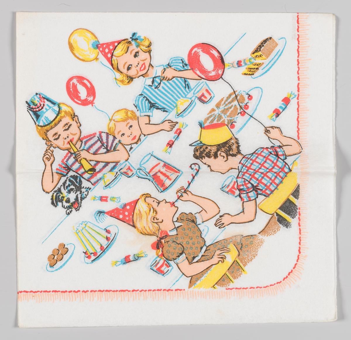 Et bursdagsselskap med gutter og jenter med hatter, ballonger, kaker og saft.