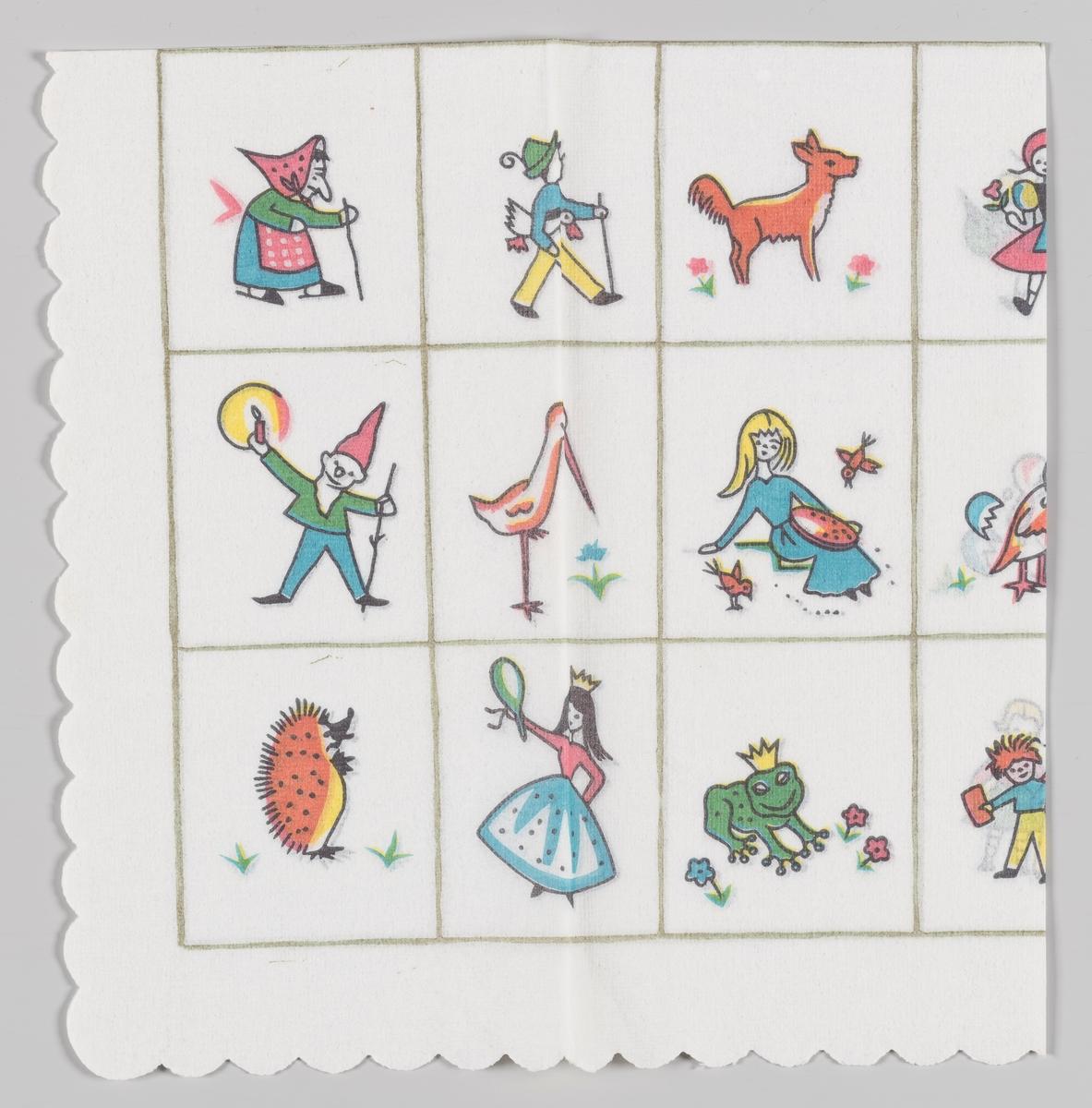 Firkanter med forskjellige figurer: En heks, en gutt med en gås under armen, en rev, en nisse, en stork, en jente som forer fuglene, et pinnsvin, en prinsesse, en frosk med krone.