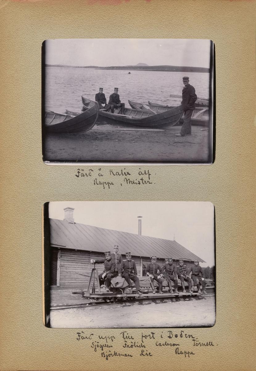 """Text i fotoalbum: """"Färd upp till fort i Boden. Sjögreen, Frölich, Carleson, Törnell, Björkman, Lie, Rappe."""""""