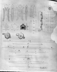 Tegninger av detaljer i Gokstadskipet. Avfotografert.