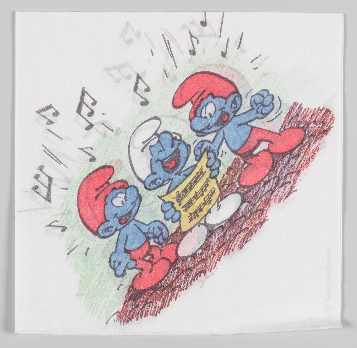 Tre smurfer står og synger fra et noteark.  Smurfene er en tegneserie for barn, skapt i 1958 av den belgiske tegneren og manusforfatteren Pierre Culliford, kjent under signaturen Peyo. Smurfene er blitt utgitt i Norge fra 1974.