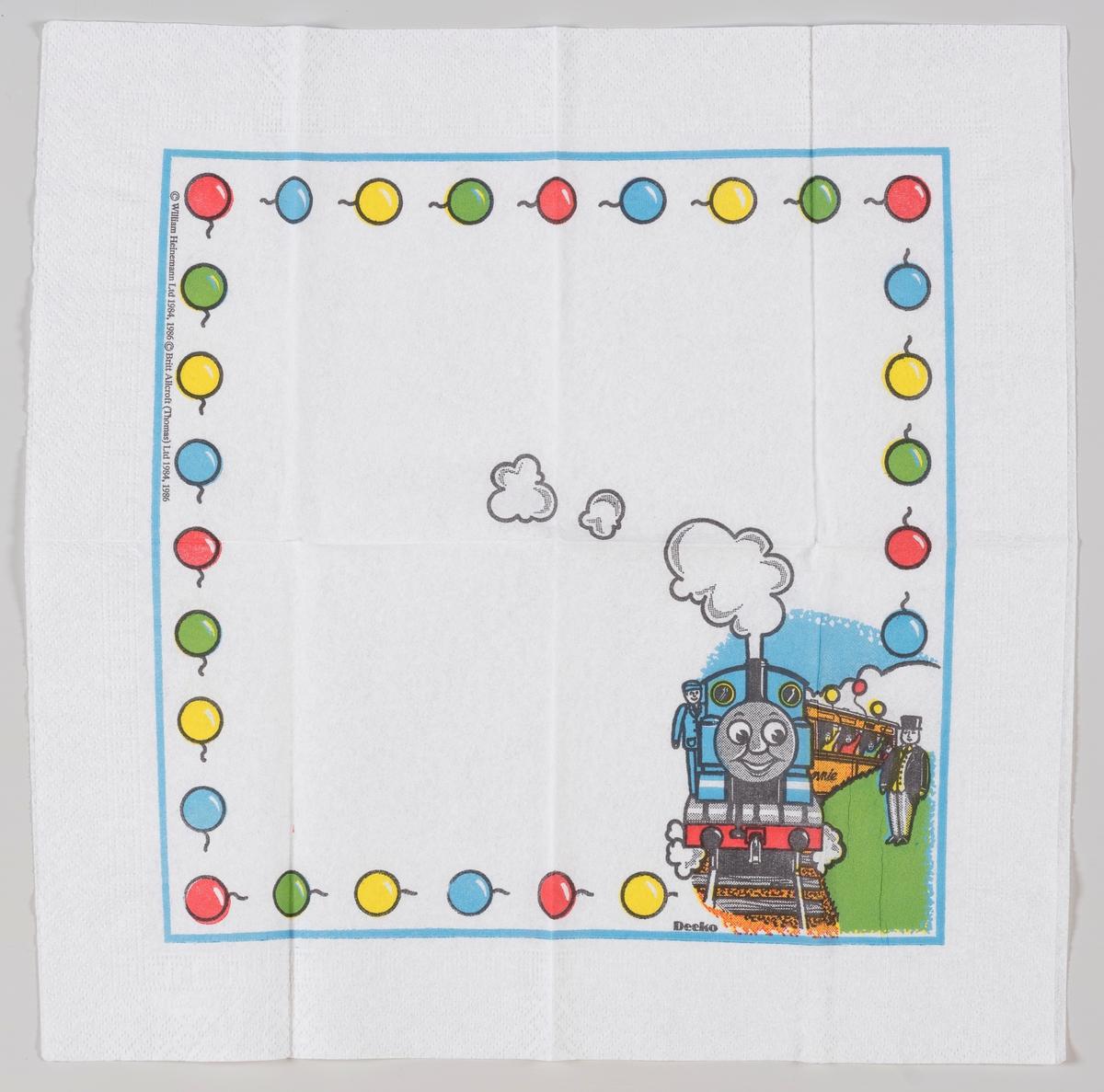 Toget Thomas, en konduktør og en rekke med ballonger langs kanten.  Toget Thomas og vennene hans er en britisk animert TV-serie for barn som kom i 1984.