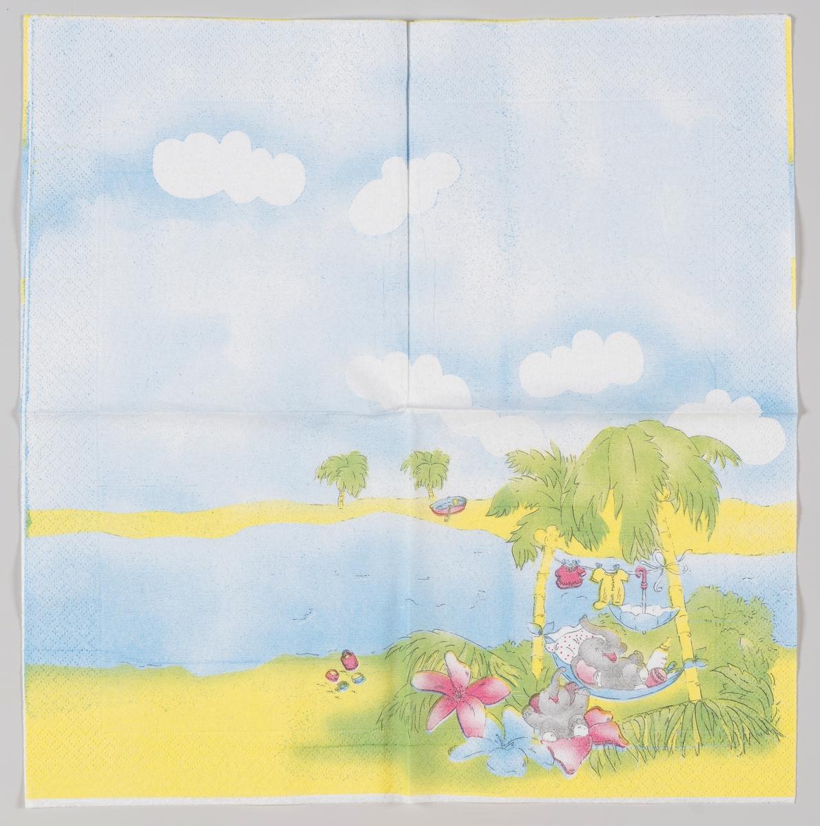 To elefanter ligger i en en hengekøye og i mellom store blomster mens klær henger til tørk mellom palmer ved bredden av et vann.