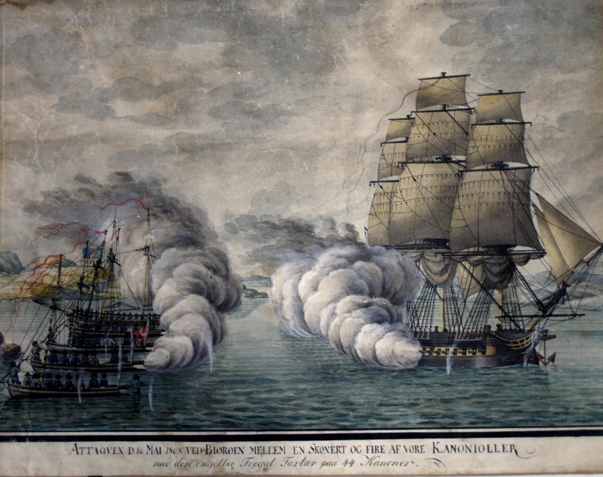 """Maleri av """"Slaget ved Bjørøen (Alvøen) 16. mai 1808"""". Den engelske fullriggeren TARTAR møter fire kanonjoller og en skonnert (kanonsjalupp) i Vatlestraumen."""