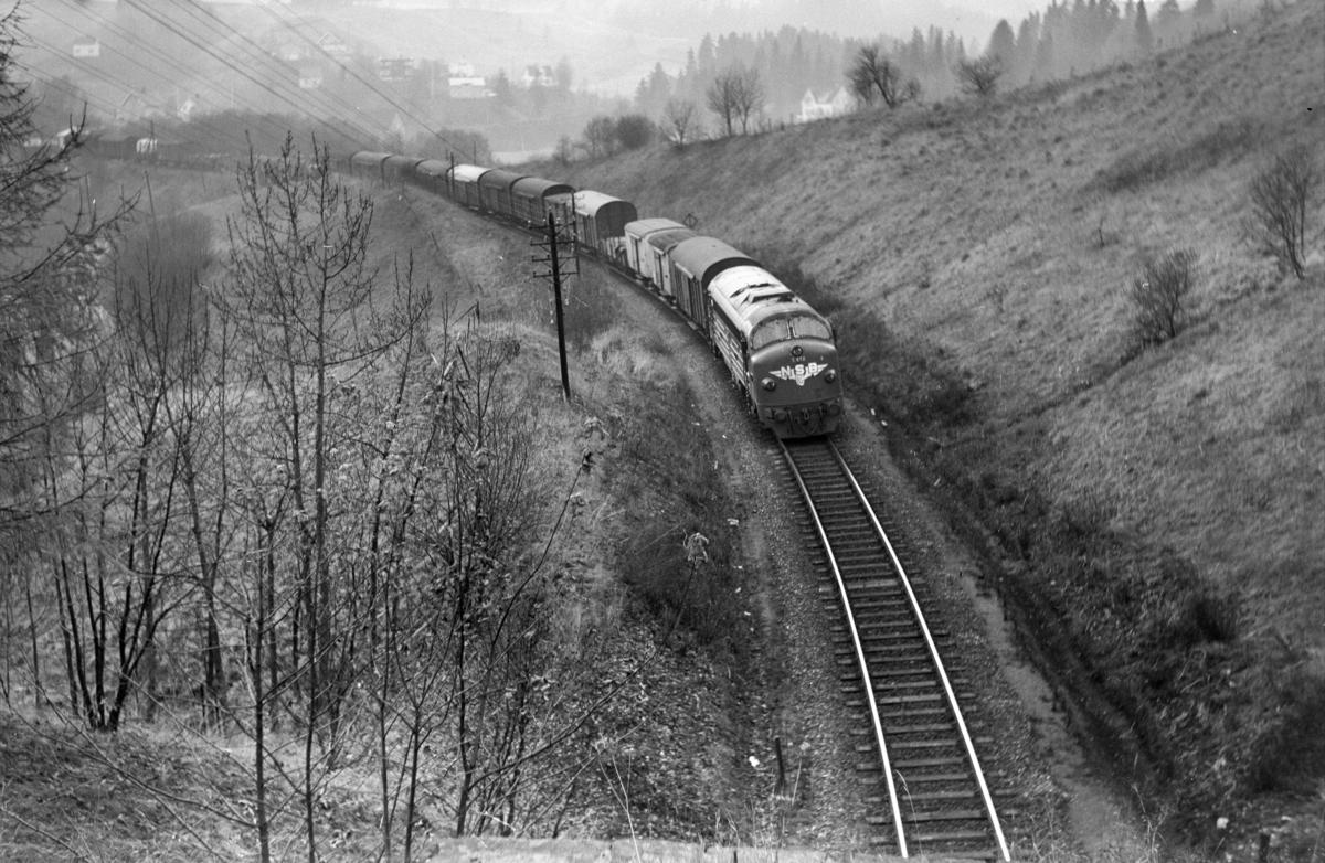 Godstog 5717 til Trondheim i nærheten av Selsbakk stasjon. Toget trekkes av diesellokomotiv type Di 3 nr. 612. .