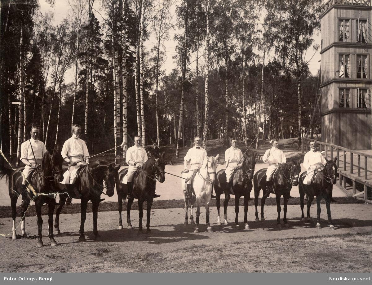 Hästpolo. Ett pololag bestående av bland andra Nils Rudebeck (andra från vänster), Nils Bonde (tredje från vänster) och Carl Bonde (fjärde från vänster) står uppställt på Järva (möjligen vid Ulriksdal).