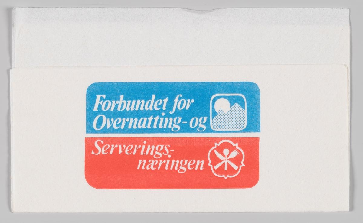 Logoer og reklametekst for Forbundet for Overnatting- og Serveringsnæringen.  Samme reklame på serviett MIA.00007-004-0048 og MIA.00007-004-0049.