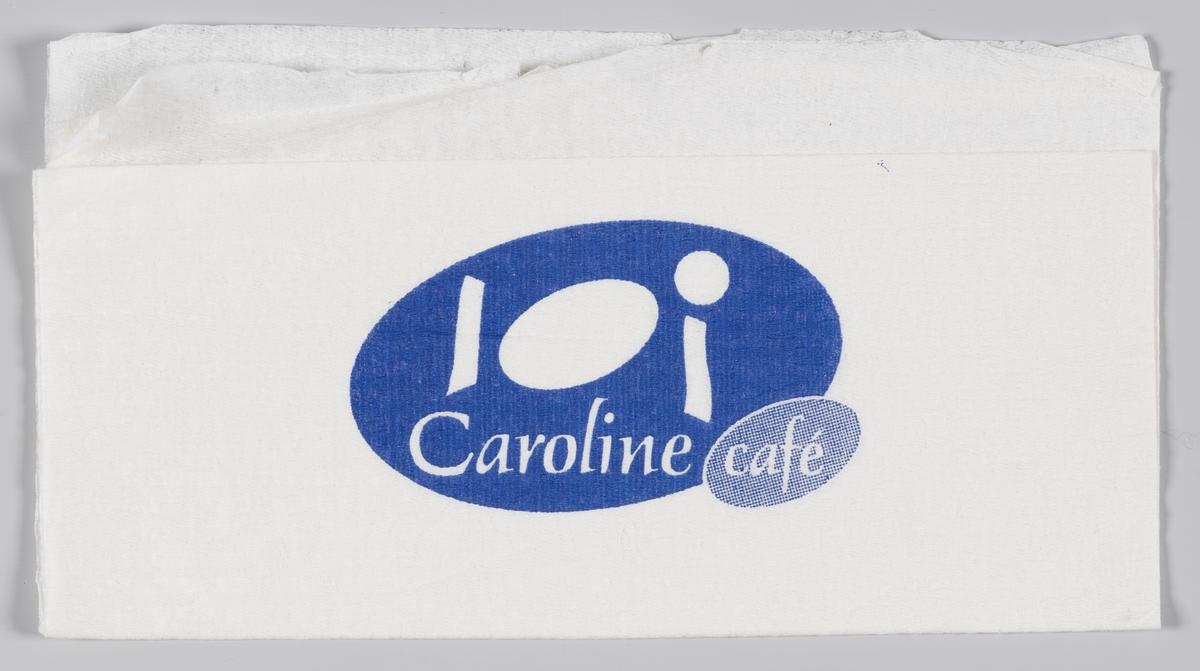 En oval med stilisert tallerken, bestikk og kopp og reklametekst for Caroline cafè og en hånd som holder en fakkel og reklametekst for Narvesen.  Reklame for Caroline cafè på MIA.00007-004-0214; MIA.00007-004-0215.