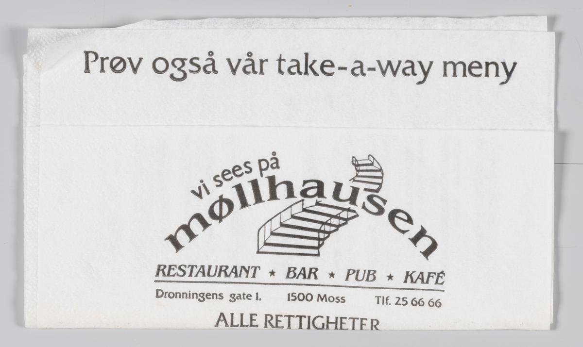 En buet trapp og en reklametekst for Møllhausen restaurant, bar og kafè i Moss.  Møllhausen var i 1960-årene et viktig møtested og spisested i Moss.