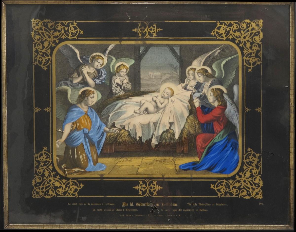 Nyfødte Jesus i stallen omgitt av seks engler.