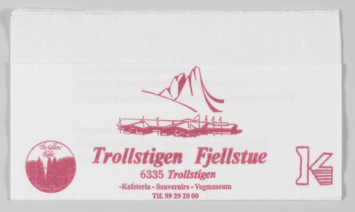 En tegning av et fjell og bygninger og en reklametekst for Trollstigen Fjellstue ved Trollstigen.  Samme reklame på MIA.00007-004-0277.