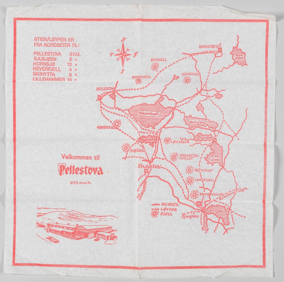 """En tegning av bygningene til Pellestova og et løypekart over området og reklame for Pellestova. Pellestova har en spesiell historie. Pelle Skalmstad (døpt Magnus Vladimir Illarionovich Sladnjev) 1919-1990, var sønn av en ukrainsk flyktning som giftet seg med datteren på gården Skalmstad i Øyer. I 1944 ble Pelle av helsemessige årsaker anbefalt å tilbringe en sommer i fjellet. Han tok med seg det kasserte grisehuset fra gården Skalmstad, og satte det opp på den beste beliggenheten han fant på Hundersetra i Øyerfjellet. I 1945 fikk den vesle bua navnet """"Pellestova"""". Pelle viste seg å være en god forretningsmann, og i 1946 åpnet han vinduet på den lille Pellestova og solgte kaffe.  Han så fort et potensial i dette, og historien om Pellestova som fjellstue og overnattingsplass var i gang. Pelle utvidet i takt med pågangen, og Pellestova ble etter hvert et lite hotell. Pelle døde i 1990.  Da drivkraften ble borte kom nedturen fort. Ingen klarte å videreføre Pelles livsverk, og i 2003 ble Pellestova stengt. Bygningsmassen var råtten, økonomien var dårlig og gjestene uteble. I 2006 ble restene av Pellestova solgt som et prosjekt. Etter mange år med store utfordringer ble Pellestova gjenåpnet i 2009. Eierstrukturen har endret seg og eies i dag av Bjørn Rune Gjelsten. Etter store investeringer fremstår Pellestova Hotell Hafjell i dag som et topp moderne fjellhotell."""