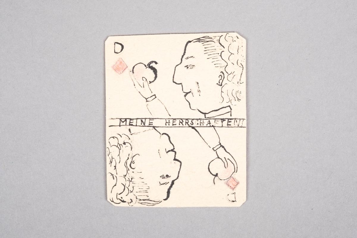 Tegning av en kvinne som holder et eple. Motivet er speilet.