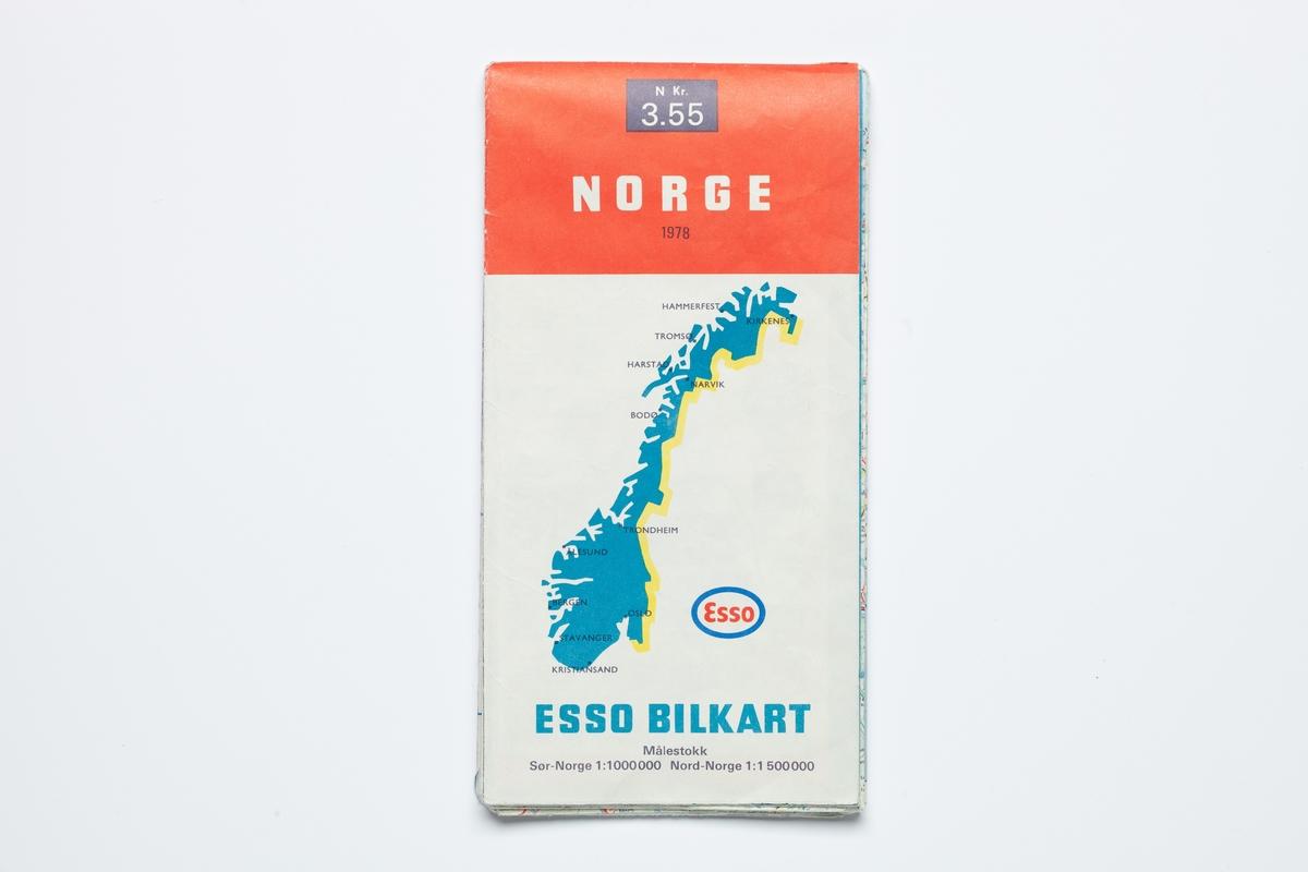 På forsiden er et kart over Norge med markering av de største byene.