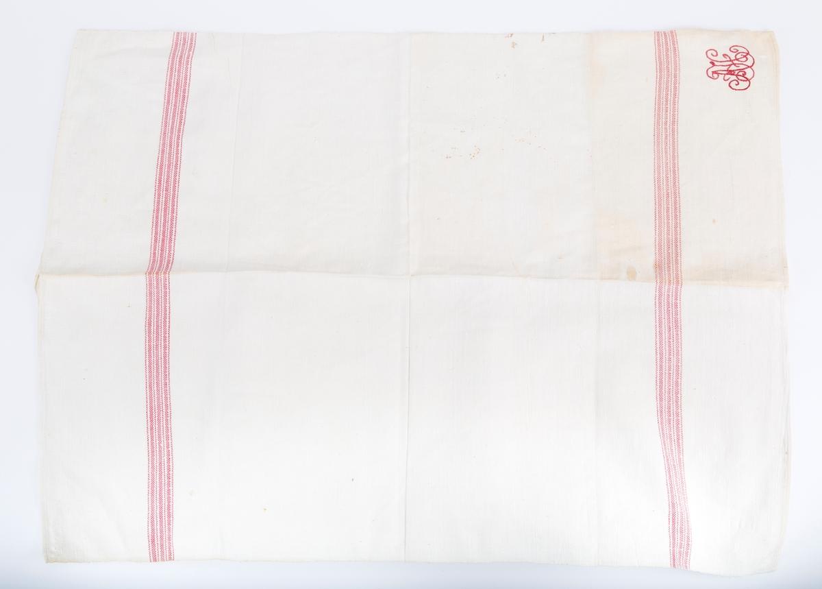 Rektangulært. Bendelbånd til hemper. Kypert (mønstret veveteknikk). Røde striper