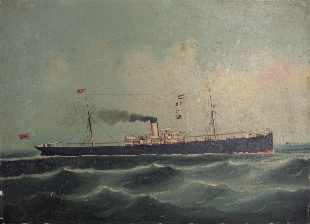 Skipsportrett av DS OSCAR II under fart i åpen sjø. Fører norsk flagg akter.