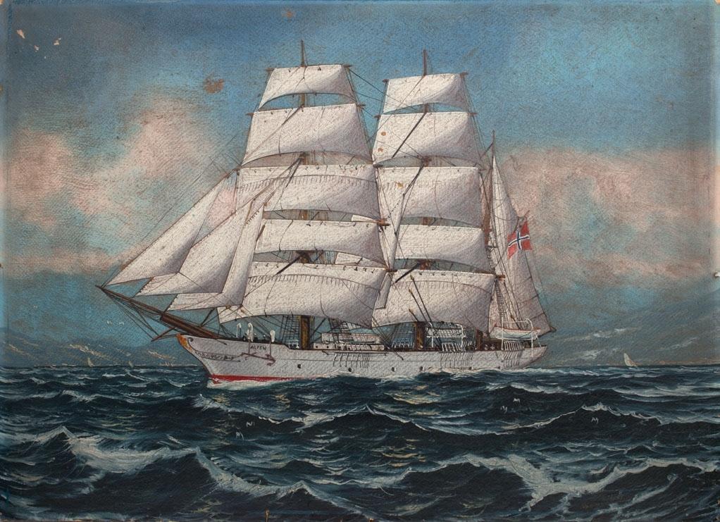 Skipsportrett av bark ALFEN under fart med full seilføring. Fører norsk flagg akter. Ser land i bakgrunn.