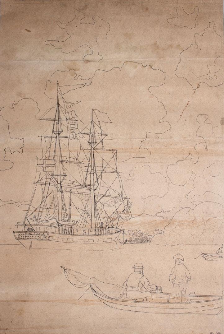 Skipstegning av briggen HILDUR av Bergen under innseiling til en havn. I forgrunn sees en bruksbåt med to fiskere ombord.