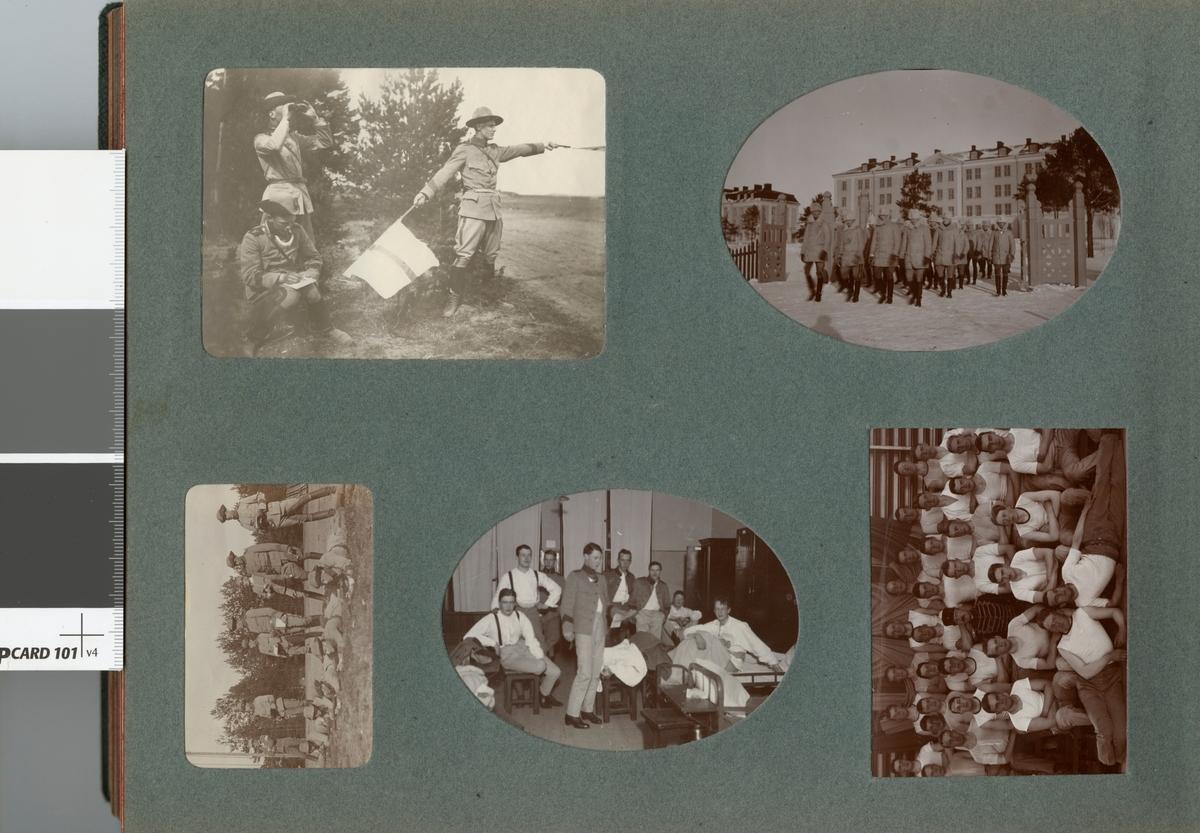 Gruppbild med soldater från Kronprinsens husarregemente K 7 på kaserngården.