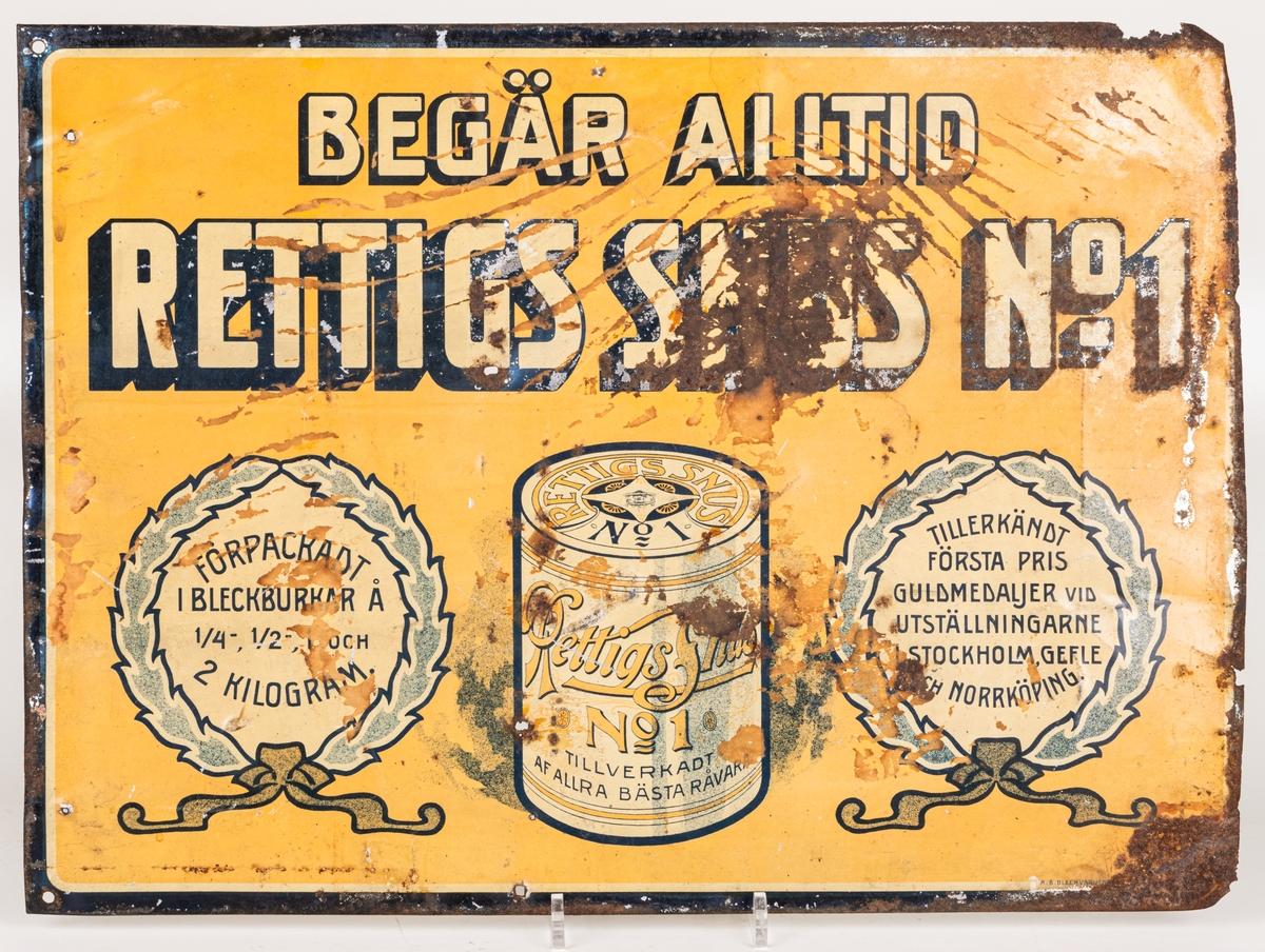 Skyltreklamplåt, järnbleck med emalj på. a, Reklam för snus.