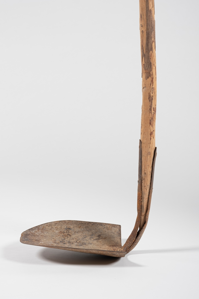 Langt, naturlig skaft med hakkehode. Hodet er spikret til skaftet. Det er fortsatt rester av bark på skaftet.