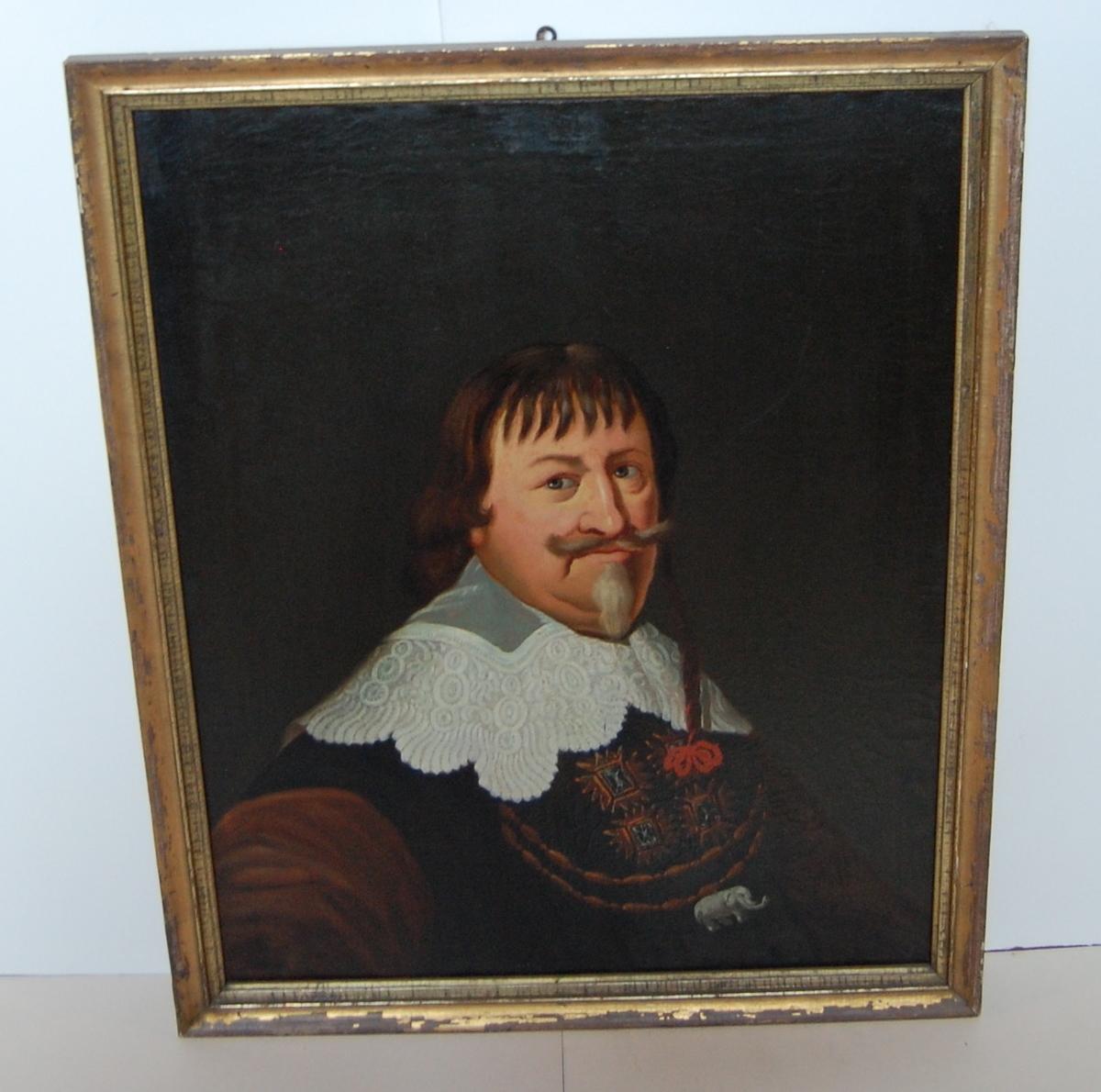 Olje på lerret, forgylt profilert ramme, portrett av Christian IV.