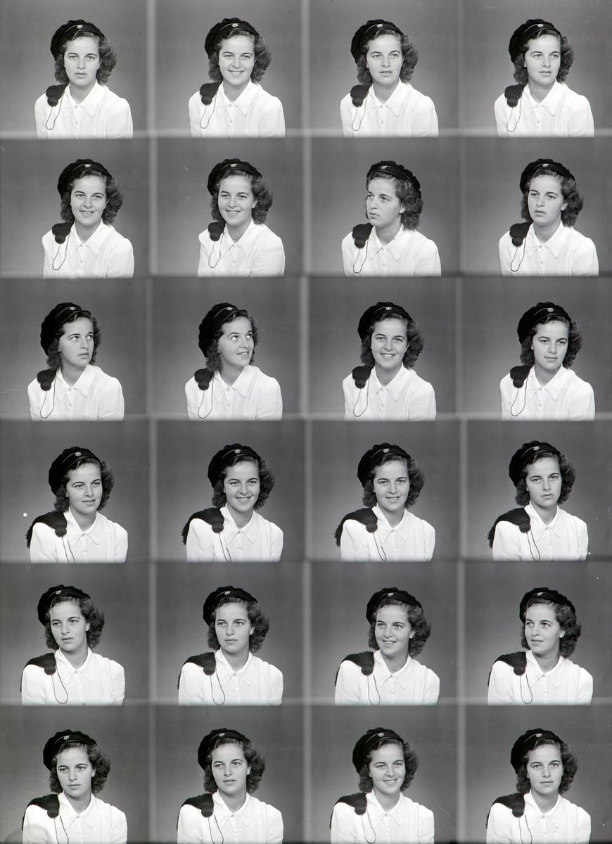 Portrettserie av Eva Jørgensen, med studentlue. Studentbilde. Gift Eva Kløvstad. (Fødselsdato: 10. juli 1921, Vang Døde: 8. juni 2014, Hamar) Eva Antonie Kløvstad var en norsk motstandskvinne og leder i Milorg i andre verdenskrig. Hun er født i Vang i Hedmark, datter av Frithjof Georg Jørgensen og Thorbjørg Jenny Godager. Under andre verdenskrig deltok hun i motstandsbevegelsen i Hamar med kodenavnet Jakob.
