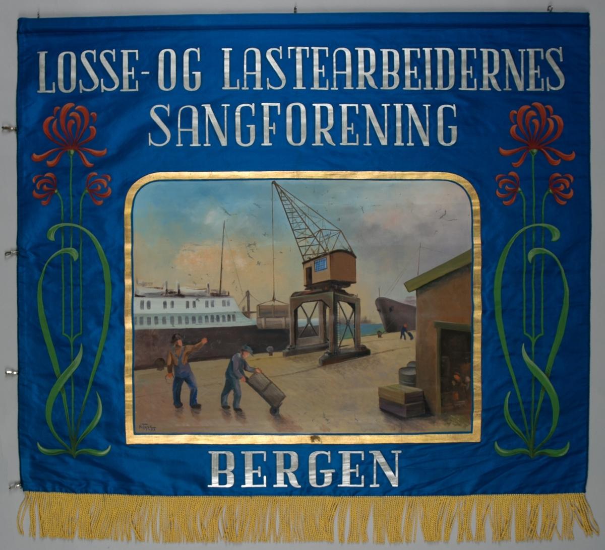 Fanemotiv av havnekran med tre havnearbeidere på kaien som laster/losser et skip ved kai (forside). Motiv av strenginstrument lyre omkranset med laubærkrants (bakside).