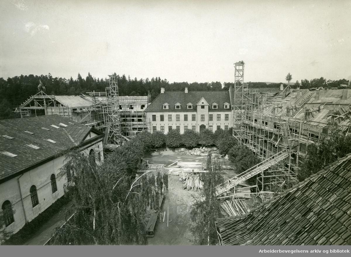 Norsk Folkemuseum på Bygdøy. Oppføring av utstillingsbygninger 1932-34.
