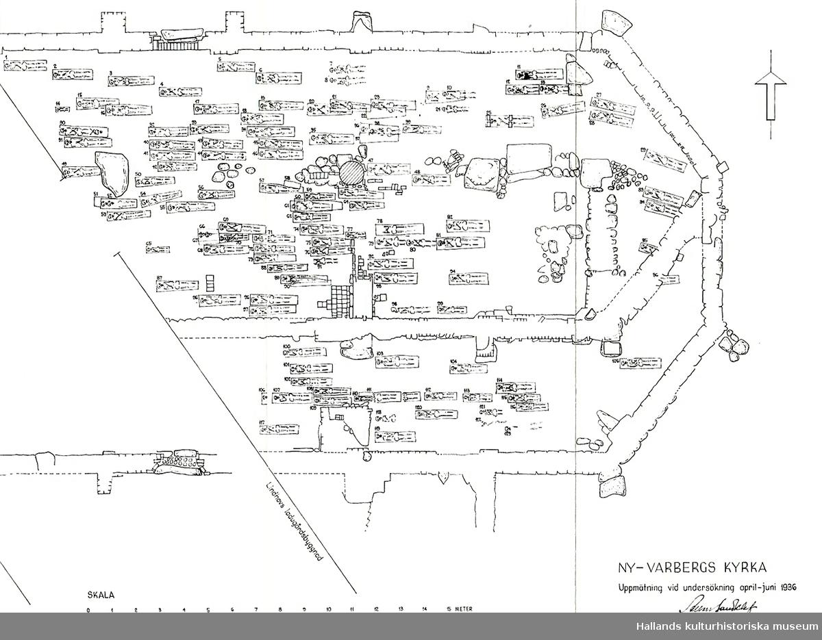 Hundratals tegelstenar och gravstensfragment finns på VMF >14 000, dessa är registrerade i Primus. Stenarna förvaras i 24 lådor.  Det finns 1 back med järnföremål såsom tänger och andra redskap och beslag mm, somligt kan vara från tiden efter kyrkans brukningstid. Delar av låset till ett skjutvapen är nog samtida med kyrkan. Föremålen är registrerade på VMF 21 445 - 21 468. (Före och efter i nummerserien finns järn från kyrkan i Gamleby).  7 st järnföremål kan återfinnas i Primus, de flesta har felaktiga eller ofullständiga uppgifter.  Fler fynd borde finnas, bl a mynt men avsaknaden kan kanske förklaras av att man var tvungen att arbeta med lite grövre undersökningsmetod än vad som är önskvärt.  Trots att 124 gravar undersöktes saknas ben, om de skickats på analys utan att återkomma, återbegravts eller försvunnit är okänt.  Möjligt är också att eventuella övriga fynd kommit på avvägar i samlingen.