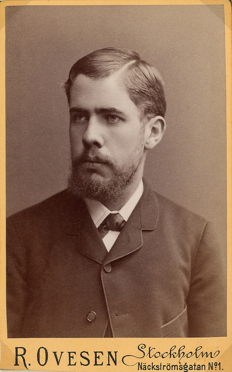 Porträttfoto av en skäggig man i kavajkostym med fluga.  Bröstbild, halvprofil. Ateljéfoto.