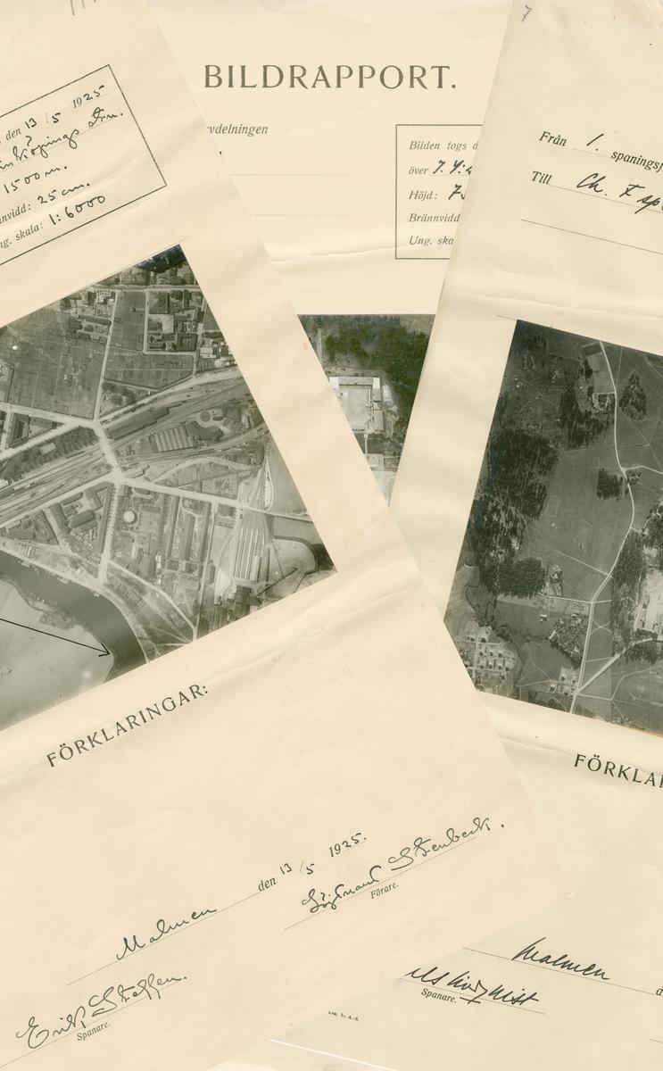 Flygfotografier över Linköping, 1925. Foton tillhörande bildrapporter från spaning vid flygspanarskolan på Malmen.