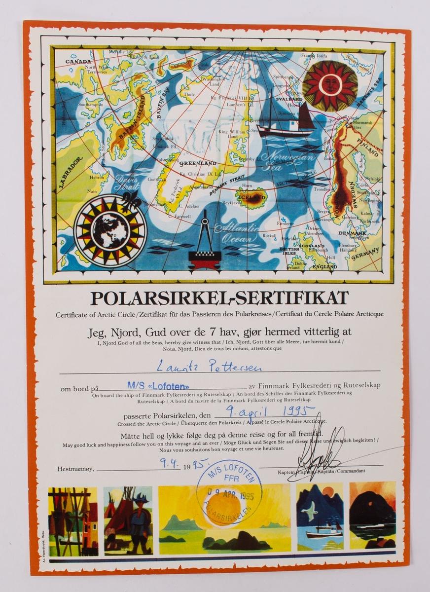 Motiv av enkelt tegning av kart hvor landene Canada, Grønland, Norge, Sverige, Finland og England er avbildet.